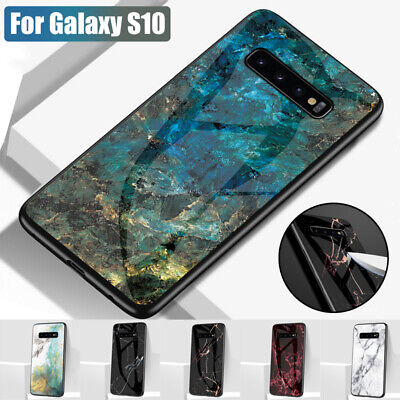 Marble Tempered Glass Back Case Cover For Samsung Galaxy S10 Plus S9 A9 A7 2018