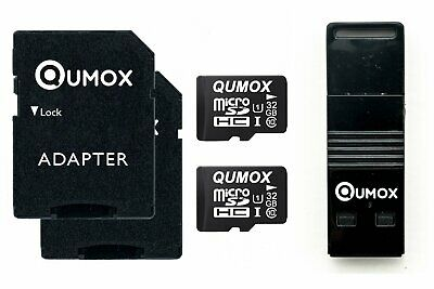 2x QUMOX 32GB MICRO SD MEMORY CARD CLASS 10 UHS-I 32 GB with OTG USB Reader