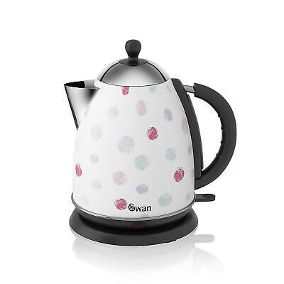 Swan Retro Polka Dot Jug Kettle with 3kW Rapid Boil 1.7 Litre White