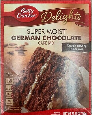 New Betty Crocker Delights Super Moist German Chocolate Cake Mix 15.25 Oz Box