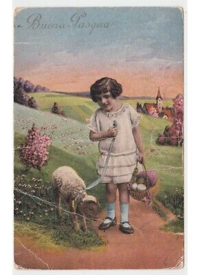 Little Girl with Sale Easter Antique Card Coloured Greeting D'Epoca -defect