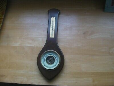 VINTAGE INDOOR WALL BAROMETER/THERMOMETER BY GISCHARD GERMANY. 42cm long