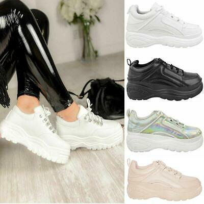 Womens Ladies Chunky High Platform Trainers Sneakers White Retro Punk Rock New