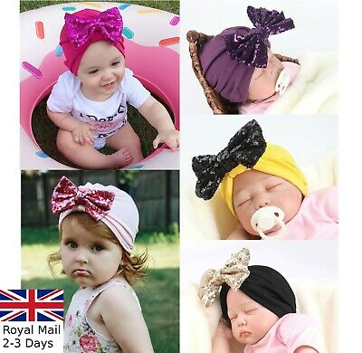 Baby Girls Sparkling Bow Turban Head Wrap Cute Kids Ear Hat Cotton Cap
