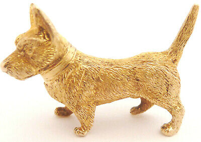 Terrier Dog Brooch 15ct Solid Gold / 3 Dimentional Desk Trinket Antique C.1870's