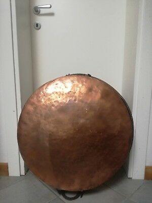 Antigua Grande Olla Cobre Huge Copper Pot 65cm - 6kg Hornear Tamboleado a Mano