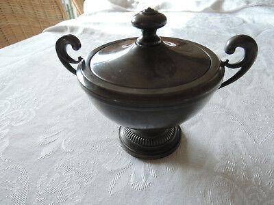 antique French art deco pewter sugar bowl