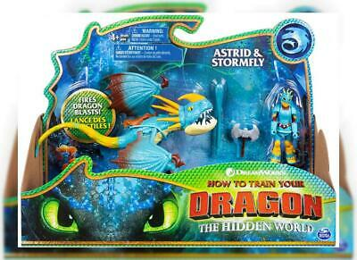 Dreamworks Dragons, Stormfly and Astrid, Dragon with Armored Viking Figure,...