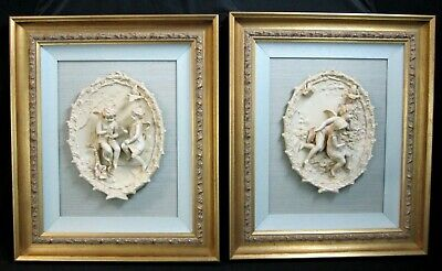 Vintage Pair Of Porcelain Bisque Relief Plaques Cupid Fairy Doves Framed!