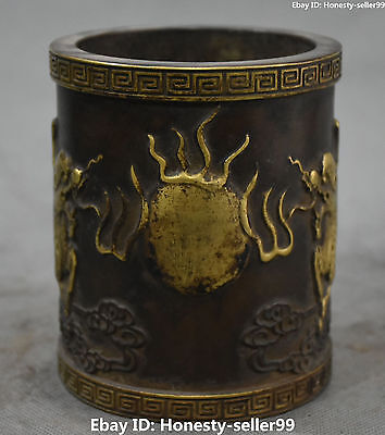 Old Chinese Purple Bronze Gilt Dragon Loong Brush Pot pencil Holder vase Statue