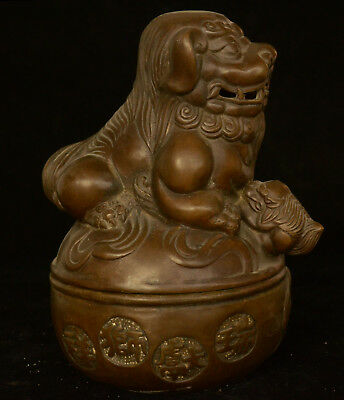 Old China Dyansty Palace Bronze Fengshui Lion Beast Incense Burner Censer Statue