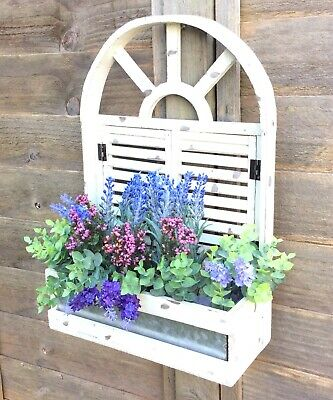 French Vintage Style Wooden Wall Planter Flower Pots Herb Garden Window Box NEW