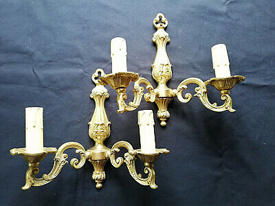 lot of two pair of gold bronze wall light sconces classic,a pair with mirror