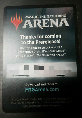 MTG Arena - War of the Spark Prerelease Code - Draft - Email Only - New