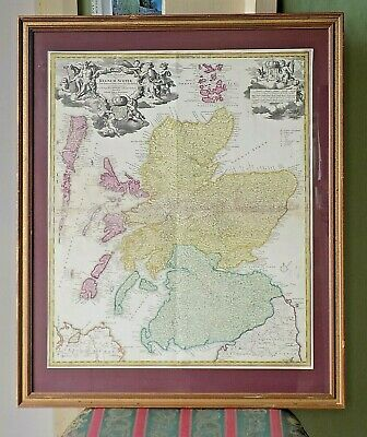 c1710 Homann Scotland Regnum Scotiae Scottish Antique Map Edinburgh Glasgow Old