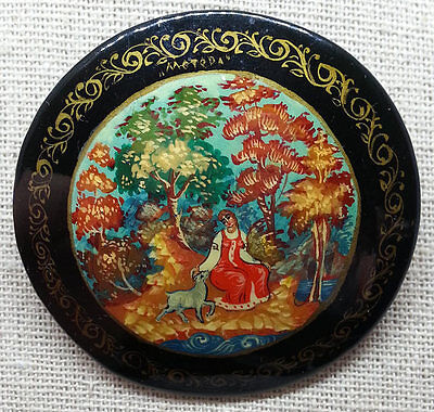 Russian Folk Art Brooch, Hand Painted Scene Black Lacquer Pin, Vintage Jewelry
