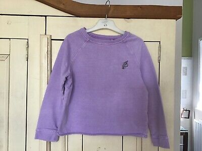 Girls Cropped Lilac Sweatshirt with Unicorn Motif by Next, Age 9