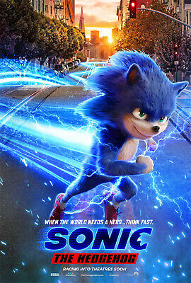 """Sonic The Hedgehog 2019 Poster 36x24"""" 21x14"""" Movie Film Forces Print Silk"""