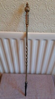 "Arts crafts brass poker barley twist  with  iron end. 25""long"