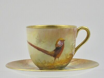 "Royal Worcester Cup and Saucer by signed Sedgley "" Chinese Pheasants ""  1926"