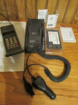 Vintage Motorola Flip Cell Phone 1995 Receipt Charger 2 Batteries One Owner More
