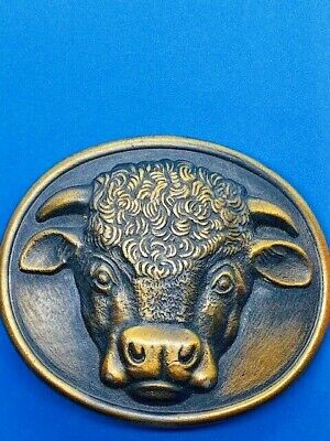Vintage 1975 Malcom Cow Hereford Cows Cocktails- Booze Belt Buckle