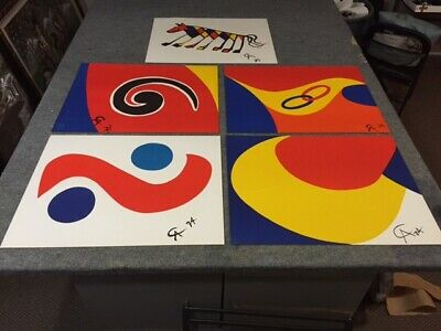 Alexander CALDER Braniff Airlines Original Set of 5 1974 Lithographs Art Prints