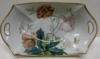 Antique Nippon Hand Painted Floral Porcelain Bowl, Gilded Moriage Dish