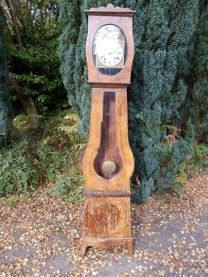 Clock French, long case, pine, antique, original hand decoration.