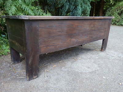 Coffer, trunk, chest, massive solid oak, 18th century, antique, useful storage.