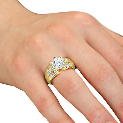 10K Solid Yellow Gold CZ Cubic Zirconia Solitaire Engagement Ring 2.0Ct