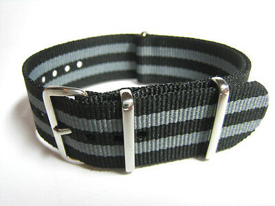 Black & Gray Nylon NATO Military style watch strap. Fast Delivery from UK.