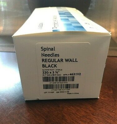 "SPINAL NEEDLES QUINCKE POINT STERILE  22g x 3 1/2"" 25 PER BOX"