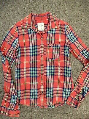 Hollister Brushed Cotton Shirt - Size XS - Red, White & Blue