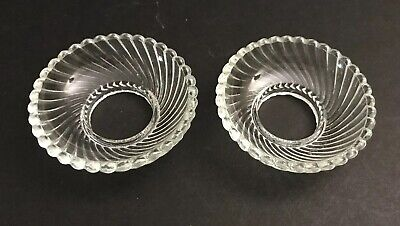 Vtg Pair (Set 2) Bobeche Glass Candle Wax Drip Collar Concave Swirl Scallop Edge
