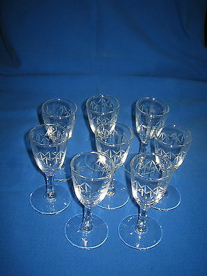 Vtg Sasaki Crystal Glass 8 Cordial Liqueur Glasses Fine Faceted Stem Cut Bamboo