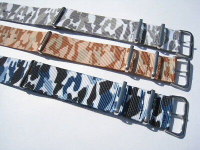 NATO Camouflage watch straps. 16,18 ,20, 22 & 24mm. Fast delivery form UK.