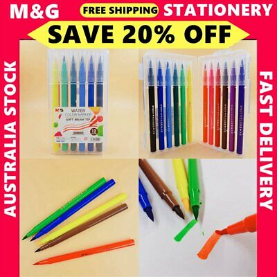 1x 12 colors water colorful pen with tips  School Office Stationery ACP92167