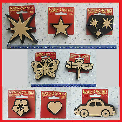 Rubber foam stamp butterfly, dragonfly, Lg/sm/cluster stars, car, heart, flower