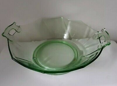 """Green Depression Glass Bowl with Open Handles & Scalloped Edge 9""""D"""