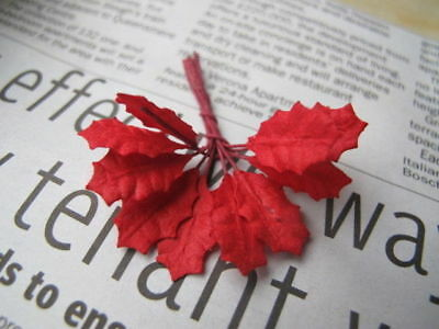 50 Small Red Leaves Holly Poinsettia Wire Stem Mulberry Paper Embellisment H1R