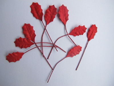 20 Small Red Leaves Holly Poinsettia Wire Stem Mulberry Paper Flower H1R