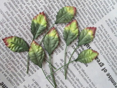 50 GREEN AUTUMN ROSE LEAVES 14mm Width Wire Stem Mulberry Paper Craft R3Y