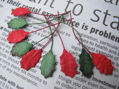 20 Small RED & GREEN Leaves Holly Poinsettia Wire Stem Mulberry Paper H1RG