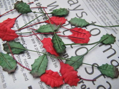 40 Small RED & GREEN Leaves Holly Poinsettia Wire Stem Mulberry Paper H1RG