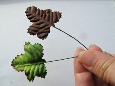 40 Maple GREEN & BROWN leaves 40mm wire stem Mulberry Craft Card M4GB