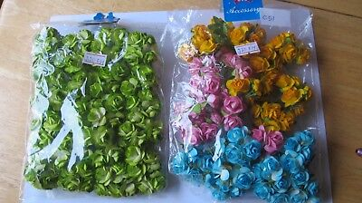 Clearance 2 x 100 Open Rose 20mm Head Assorted colour Mulberry Paper #C51