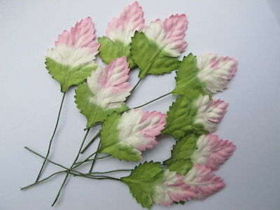 Clearance 10 GREEN PINK ROSE LEAVES 26mm width Wire Stem Mulberry Paper CraftR5P