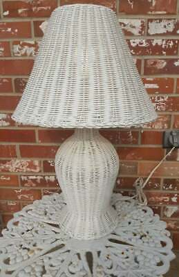 Vintage White Wicker Rattan Lamp Wood Table Reading Light Long Cord