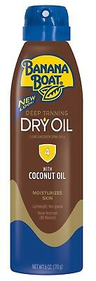 New Banana Boat Deep Tanning Dry Oil Clear Sunscreen Spray SPF 4 6 Oz